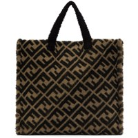 Beige And Brown Shearling 'Forever Fendi' Tote