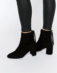 Faith Bae Suede Block Heeled Ankle Boots Black Suede