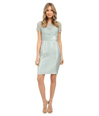 Adrianna Papell Pleated Origami Bow Waist Sheath Dress Icy Mint Women's Dress Multi