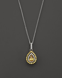 Bloomingdale's Yellow And White Diamond Pear Shaped Pendant Necklace In 18K White And Yellow Gold 17L White Yellow