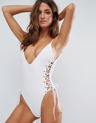 Blue Life Rope Tie Side Plunge Swimsuit White
