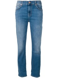 7 For All Mankind Stonewashed Slim Fit Jeans Blue
