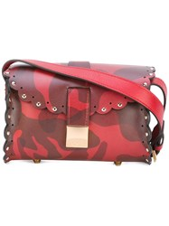 Furla Scalloped Detail Crossbody Bag Women Calf Leather One Size Red