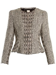 Rebecca Taylor Mixed Tweed Cropped Cotton Blend Jacket Black Multi