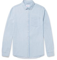 Saturdays Surf Nyc Crosby Slim Fit Button Down Collar Washed Denim Shirt Blue