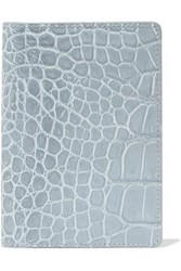 The Case Factory Croc Effect Leather Passport Cover Gray