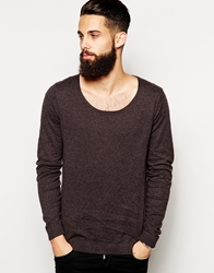 Asos Scoop Neck Jumper In Cotton Charcoaltwist