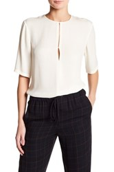 Theory 3 4 Sleeve Front Keyhole Silk Blouse White