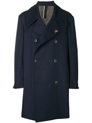 Low Brand Boxy Double Breasted Coat Blue