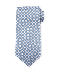 Stefano Ricci Small Flower Silk Tie Navy White