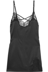 Heidi Klum Intimates Sublime Ribelle Lace Paneled Silk Satin Chemise Black