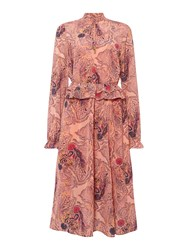 Biba Paisley Print Long Sleeve Midi Dress Multi Coloured Multi Coloured