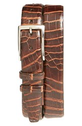 Men's Torino Belts 'Nile' Genuine Crocodile Leather Belt Brown Cognac