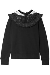 Marc Jacobs Lace And Taffeta Trimmed Cotton Jersey Sweatshirt Black