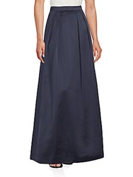 Kay Unger Solid Pleated Skirt Navy