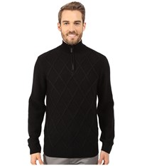Perry Ellis Diamond Stitch Quarter Zip Sweater Black Men's Sweater