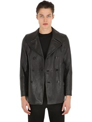 Saint Laurent Double Breasted Leather Peacoat Black