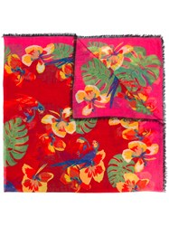Valentino Floral Print Scarf Red