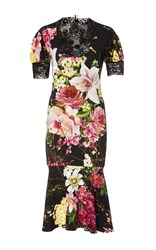 Naeem Khan Short Sleeve Floral Cocktail Dress Black