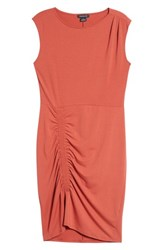 Trouve Ruched Knit Dress Red Sauce