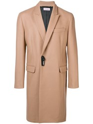 Palm Angels Woven Smart Coat Nude And Neutrals
