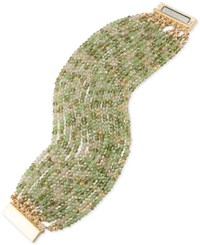 Abs By Allen Schwartz Gold Tone Green And Clear Beaded Stretch Bracelet