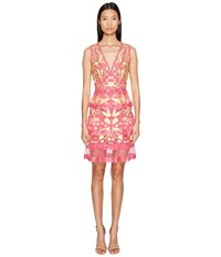 Marchesa Sleeveless Cocktail W Guipure Lace Tiered Skirt Fuchsia