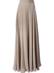 Ralph Lauren Black Label Flared Maxi Skirt Nude And Neutrals