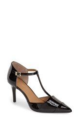 Calvin Klein 'Ginae' Pointy Cap Toe T Strap Pump Women Black