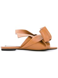 N 21 No21 Bow Detail Flat Sandals Brown