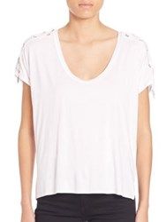 Feel The Piece Trance Lace Up T Shirt White