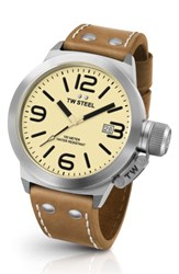 Tw Steel Men's Canteen Leather Strap Watch 45Mm Tan Cream Silver