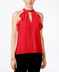 Xoxo Juniors' Ruffle Trim Racerback Tank Blouse Red