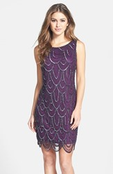 Pisarro Nights Women's Embellished Mesh Sheath Dress Plum
