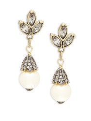 Heidi Daus Three Navette Faux Pearl And Crystal Drop Earrings Gold