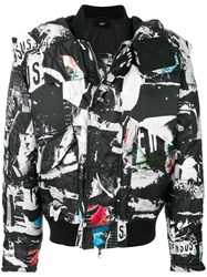 Versus Collage Print Padded Jacket Cotton Feather Down Polyamide Wool Black