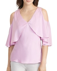 Ralph Lauren Cold Shoulder Silk Blouse Antique Lavender