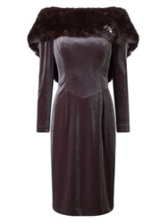 Jacques Vert Fur Detail Dress Brown