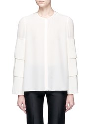 Co Tiered Plisse Pleated Sleeve Silk Shirt White
