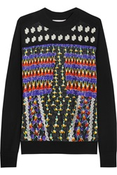 Peter Pilotto Alik Paneled Printed Silk Satin And Stretch Knit Top Black