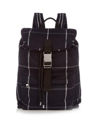 A.P.C. Snap Buckle Checked Backpack Navy Multi