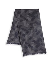 Saks Fifth Avenue Collection By Johnstons Printed Merino Wool Frayed Scarf Navy
