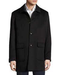 Luciano Barbera Button Front Cashmere Topcoat Black