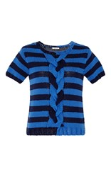 Manoush Short Sleeve Striped Bicolor Braided Pullover Blue