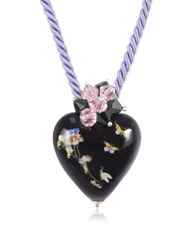Naoto Blown Glass Heart Pendant Necklace Purple
