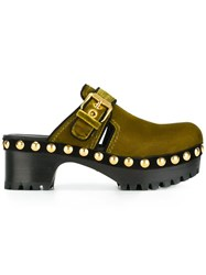 Car Shoe Velvet Studded Clogs Green