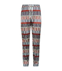 Meng Printed Silk Lounge Trousers Red