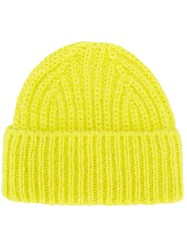 Closed Ribbed Beanie Hat Yellow