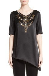 St. John Women's Collection Embellished Satin Top