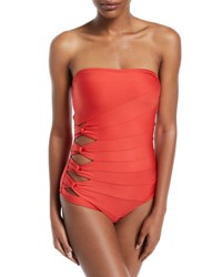 Carmen Marc Valvo Coastal Twist Side Bandeau One Piece Swimsuit Red